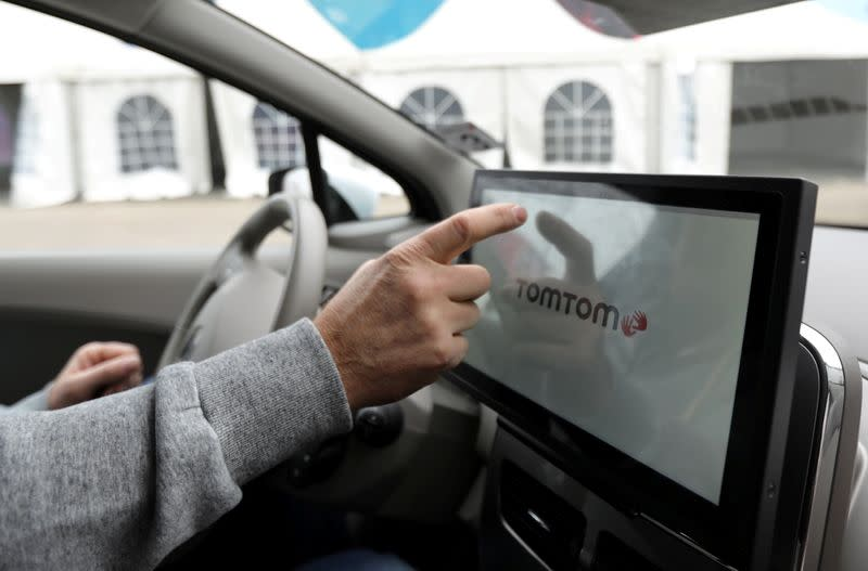 FILE PHOTO: TomTom mapping system is seen inside a vehicle in Eindhoven