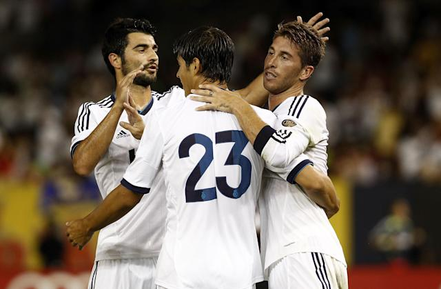 NEW YORK - AUGUST 08: Sergio Ramos #4 of Real Madrid celebrates his goal during a match against A.C. Milan at Yankee Stadium on August 8, 2012 in New York City. (Photo by Jeff Zelevansky/Getty Images)