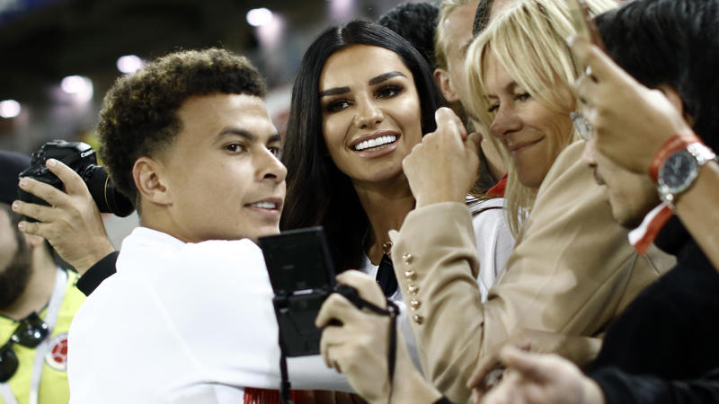 Dele Alli and Ruby Mae, pictured here after an England victory at the 2018 FIFA World Cup.