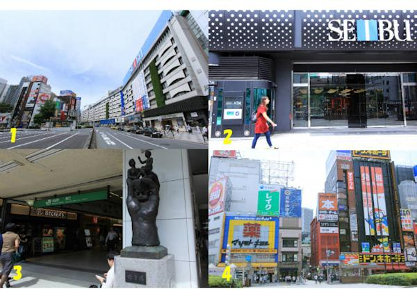 "↑1. In front of the East Exit 2. Seibu Department Store 3. ""Mother and Child"" statue 4. East Exit downtown area"