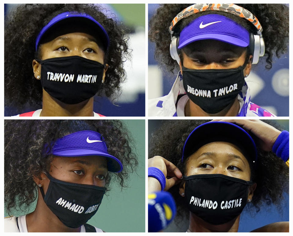 FILE- In this combo of 2020 file photos, Naomi Osaka, of Japan, wears face masks bearing the names of Black victims of police violence and racial profiling during the U.S. Open tennis tournament in New York Osaka has been selected by The Associated Press as the Female Athlete of the Year. (AP Photo/Frank Franklin II, top, Seth Wenig)