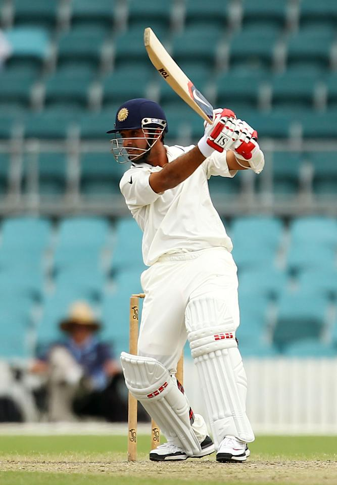 CANBERRA, AUSTRALIA - DECEMBER 19:  Ajinkya Rahane of India bats during day one of the International Tour match between India and the Cricket Australia Chairman's XI at Manuka Oval on December 19, 2011 in Canberra, Australia.  (Photo by Mark Nolan/Getty Images)