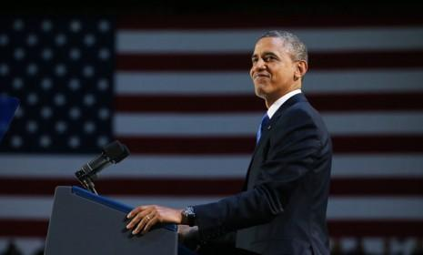 After being re-elected for a second term, U.S. President Barack Obama delivers his victory speech in Chicago.