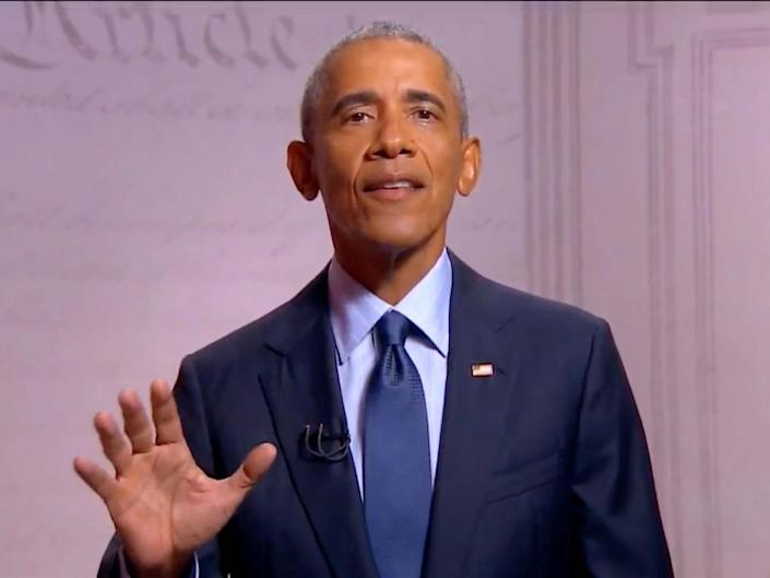 Former US President Barack Obama speaks by video feed during the virtual 2020 Democratic National Convention: REUTERS