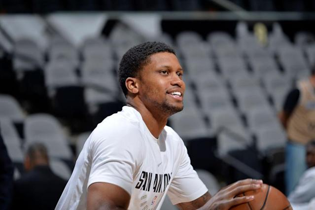 "<a class=""link rapid-noclick-resp"" href=""/nba/players/4136/"" data-ylk=""slk:Rudy Gay"">Rudy Gay</a> will reportedly decline his $8.8 million player option with the <a class=""link rapid-noclick-resp"" href=""/nba/teams/sas"" data-ylk=""slk:San Antonio Spurs"">San Antonio Spurs</a> next season. (Getty Images)"
