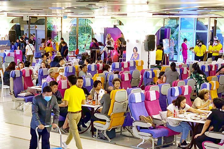 Social distancing is still vigilantly practised even as 'passengers' enjoy their meals.