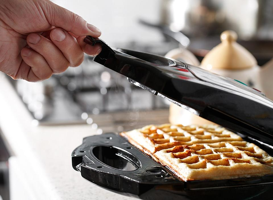 Cheese in waffle iron