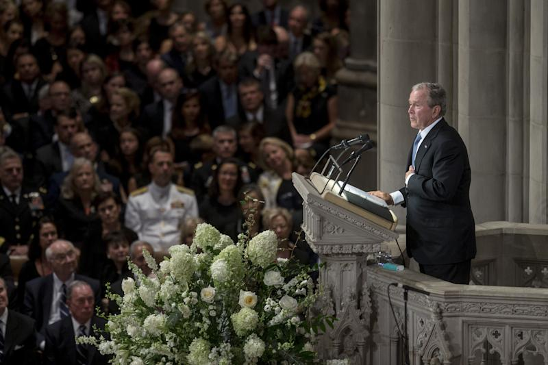 Bush memorialized the late Senator as a great friend and leader who was honest, courageousand not afraid to speak out against bigots and despots. (Bloomberg via Getty Images)