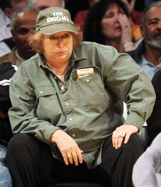 PHOTO: Penny Marshall sits courtside at Staples Center in Los Angeles, Feb. 16, 2010.  (Philip Ramey/Corbis via Getty Images)