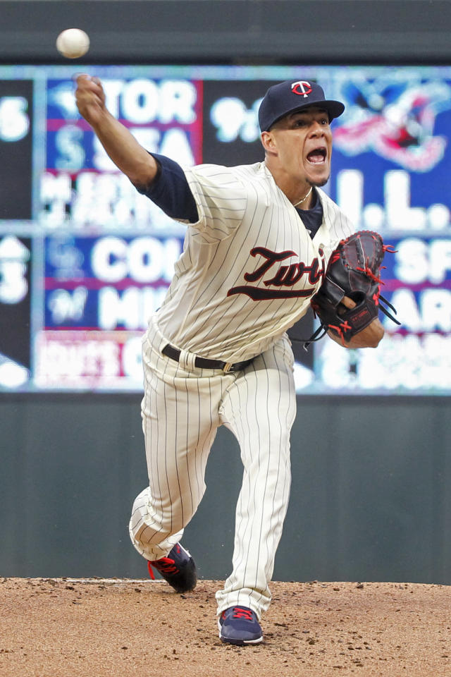 Minnesota Twins starting pitcher Jose Berrios throws to the Kansas City Royals in the first inning of a baseball game Saturday, Aug. 4, 2018, in Minneapolis. (AP Photo/Bruce Kluckhohn)