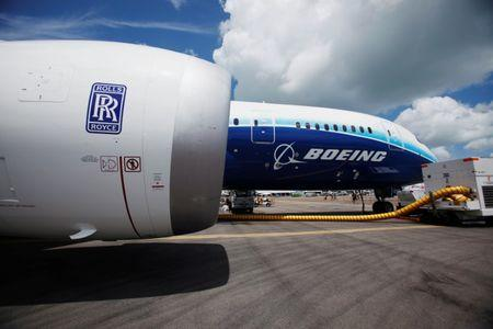 View of one of two Rolls Royce Trent 1000 engines of Boeing 787 Dreamliner during media tour of the aircraft ahead of the Singapore Airshow in Singapore
