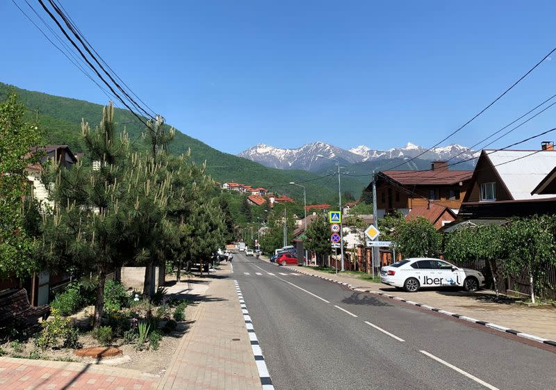 A view shows a street in the village of Krasnaya Polyana