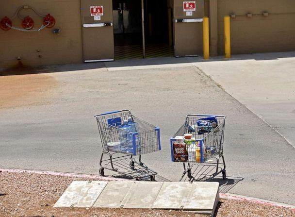 PHOTO: Shopping carts sit next to a curb after a shooting at a Walmart in El Paso, Texas, Aug. 3, 2019. (Ivan Pierre Aguirre/epa-efe/rex/Ivan Pierre Aguirre/EPA via Shutterstock)