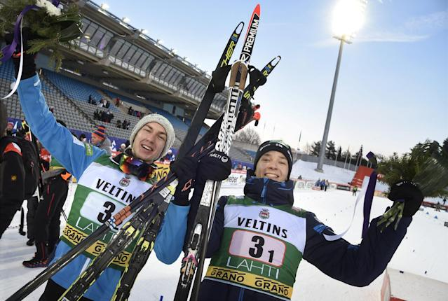 Ilkka Herola and Eero Hirvonen of Finland placed third in the men's Nordic Combined Team Sprint cross-country skiing of the FIS World Cup in Lahti, Finland March 3, 2018. LEHTIKUVA/Markku Ulander via REUTERS ATTENTION EDITORS - THIS IMAGE WAS PROVIDED BY A THIRD PARTY. NO THIRD PARTY SALES. NOT FOR USE BY REUTERS THIRD PARTY DISTRIBUTORS. FINLAND OUT. NO COMMERCIAL OR EDITORIAL SALES IN FINLAND.