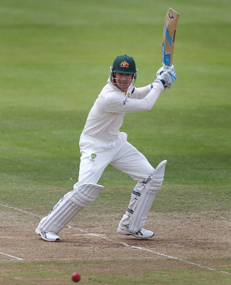 Australia captain Michael Clarke scores during his innings of 45 against Somerset, during the International Tour match at the County Ground, Taunton.