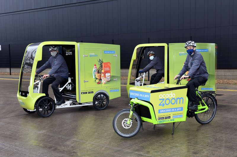 Ocado Zoom electric assisted and pedal-powered delivery vehicles in Acton, London