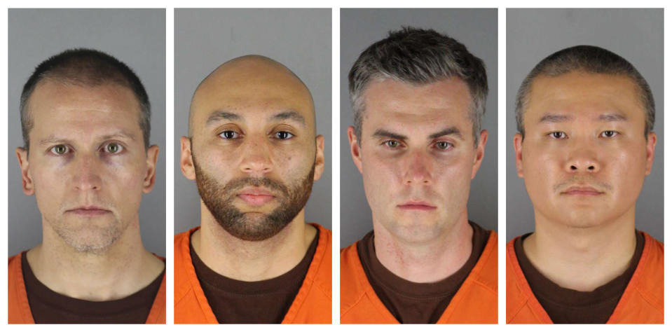 This combination of photos provided by the Hennepin County Sheriff's Office in Minnesota on Wednesday, June 3, 2020, shows from left, Derek Chauvin, J. Alexander Kueng, Thomas Lane and Tou Thao. A coalition of media outlets is seeking public access to body camera video recorded by the former officers charged in the death of George Floyd, while attorneys for the officers are asking that a gag order in the case be lifted, according to court documents filed Monday, July 13, 2020. (Hennepin County Sheriff's Office via AP)