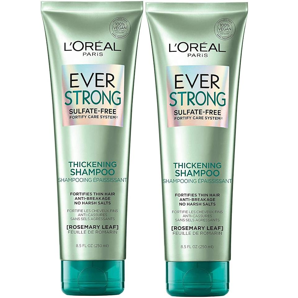 """<h2>L'Oreal Paris Hair Care EverStrong Thickening Shampoo</h2><br><strong>Best Drugstore</strong><br><br>Want proof that you don't need to spend a ton to get quality shampoo? Look no further than L'Oréal's salon-quality, sans-sulfate shampoo.<br><br><strong>L'Oreal Paris</strong> EverStrong Thickening Sulfate Free Shampoo (Pack of 2), $, available at <a href=""""https://amzn.to/3zsOQbN"""" rel=""""nofollow noopener"""" target=""""_blank"""" data-ylk=""""slk:Amazon"""" class=""""link rapid-noclick-resp"""">Amazon</a>"""
