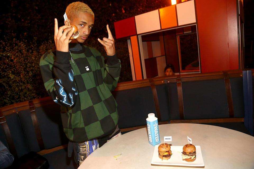 <p>The 19-year-old son of Will and Jada Pinkett Smith now has his own burgers. Jaden, a vegetarian, unveiled a trio of meatless sliders that will be on the restaurant's menu through the end of the year, with $1 from each sale going to the American Red Cross for hurricane relief. (Photo: Tommaso Boddi/Getty Images for Umami Burger x Jaden Smith Artist Series) </p>