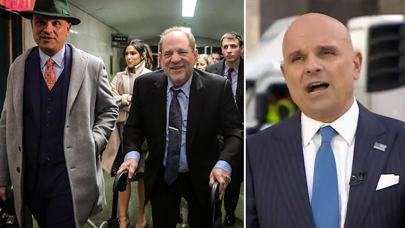 Picture shows Arthur Aidala with his client, convicted rapist Harvey Weinstein on the left; and on the right him speaking on the Today show.