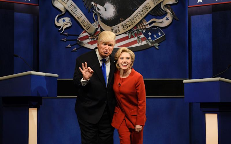 Alec Baldwin, pictured playing Donald Trump, alongside Kate McKinnon's Hillary Clinton on Saturday Night Live - 2016 NBCUniversal Media, LLC