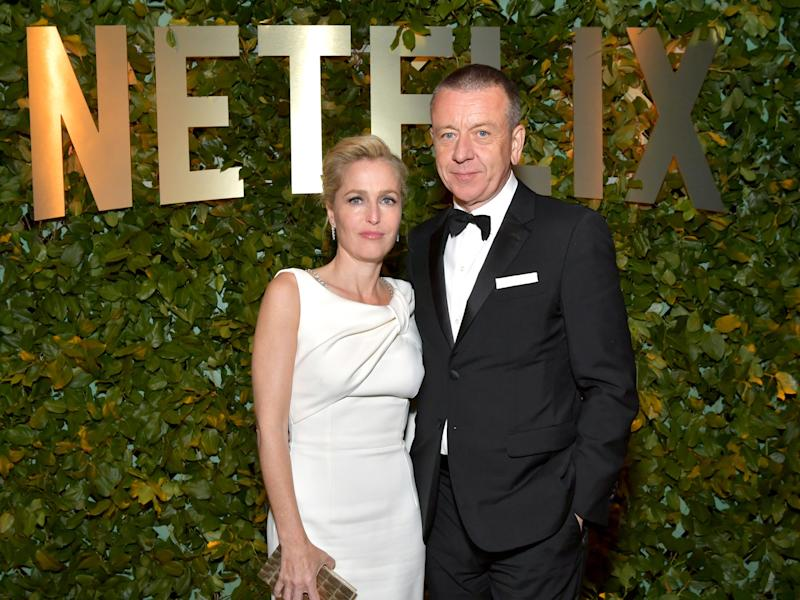 Gillian Anderson and Peter Morgan at the 2020 Golden Globes After Party.
