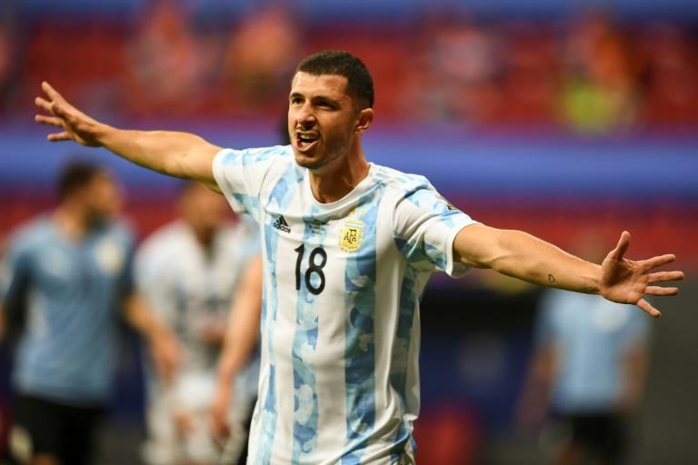 Guido Rodriguez celebrates after scoring the winner for Argentina against Uruguay in the Copa America