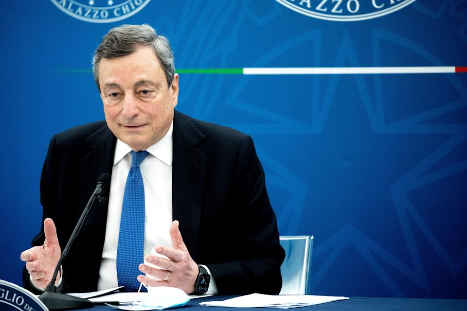 ROME, ITALY - APRIL 16: Italy's Prime Minister Mario Draghi leaves following a press conference to illustrate plan to ease COVID-19 restrictions on April 16, 2021 in Rome, Italy. Bars and restaurants remain closed at night and under the current red and orange zone restrictions are open only for takeaway during the day but many restaurants have been completely closed for months. Over the last year the Italian governments of Giuseppe Conte and Mario Draghi have allocated millions of euro in financial aid to the hard-hit restaurant sector, which is severely affected by the country's strict anti-covid rules. (Photo by Alessandra Benedetti - Corbis/Corbis via Getty Images) (Photo: Alessandra Benedetti - Corbis via Getty Images)