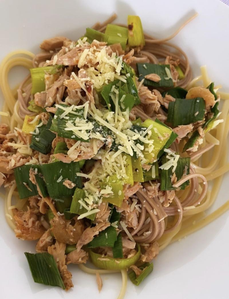 Pasta with tuna flakes and leek. (PHOTO: Reta Lee/Yahoo Lifestyle SEA)