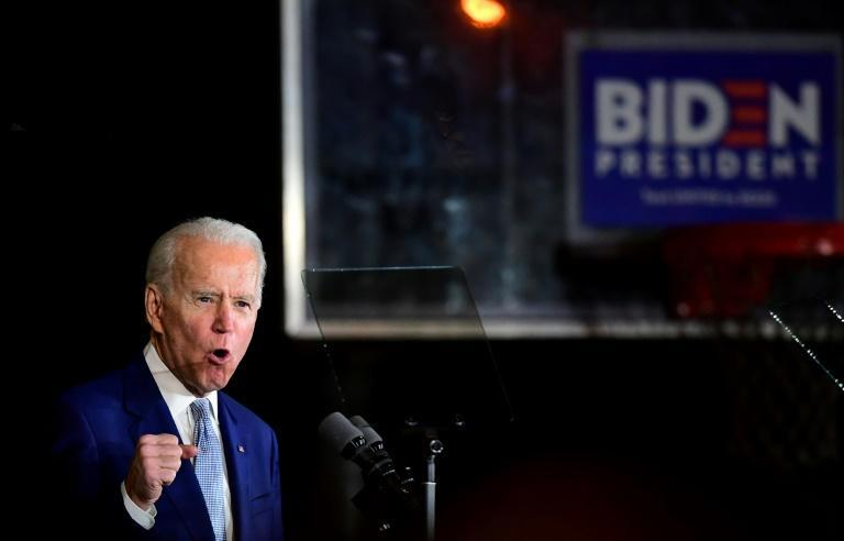 """Biden, pictured, immediately hailed Sanders as """"a good man, a great leader, and one of the most powerful voices for change in our country"""""""