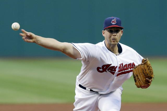 Cleveland Indians starting pitcher Justin Masterson delivers in the first inning of a baseball game against the New York Yankees, Monday, July 7, 2014, in Cleveland. (AP Photo/Tony Dejak)
