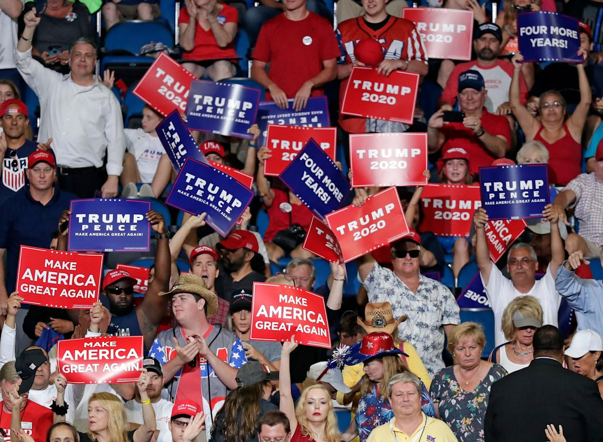 Trump supporters lined up in the rain for hours, some overnight, to get inside during the rally to launch the president's 2020 reelection bid. (Photo: ASSOCIATED PRESS)