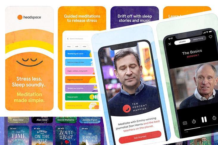 There are various meditation apps such as Calm, Headspace, Insight Timer and the 10% Happier app by 'New York Times' bestselling author Dan Harris.