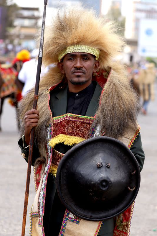 FILE PHOTO: Ethiopian musician Haacaaluu Hundeessaa poses dressed in traditional costumes during the 123rd anniversary celebration of the battle of Adwa where the Ethiopian forces defeated an invading Italian forces, in Addis Ababa