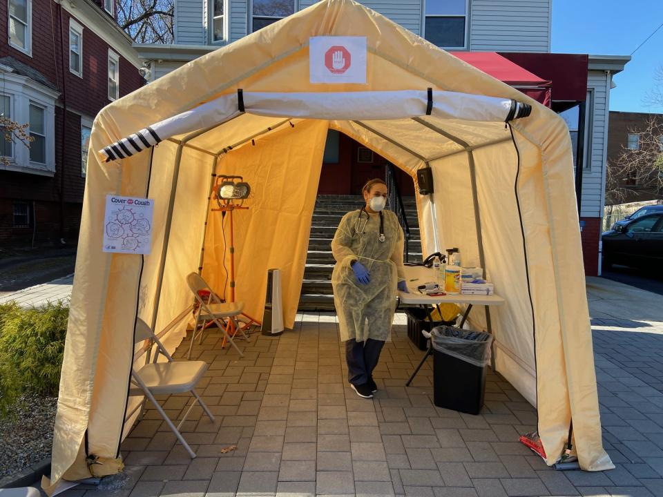 Triage tents have been set up outside of Salerno's two offices that have remained open. (Courtesy of Alexander Salerno)