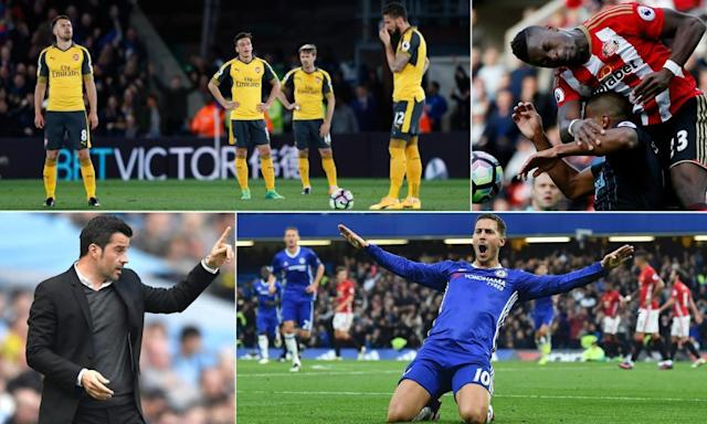 "<span class=""element-image__caption"">Clockwise from top left: Arsenal players dejected at Crystal Palace, Sunderland's Lamine Koné clears his lines, Chelsea's Eden Hazard celebrates, and Hull's Marco Silva on the touchline.</span> <span class=""element-image__credit"">Composite: Reuters/AFP/Getty Images</span>"