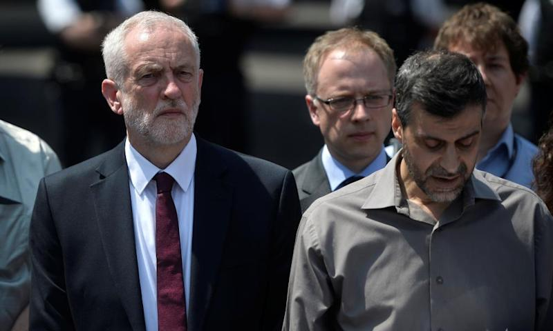 Mohammed Kozbar, the general secretary of Finsbury Park mosque, and Jeremy Corbyn