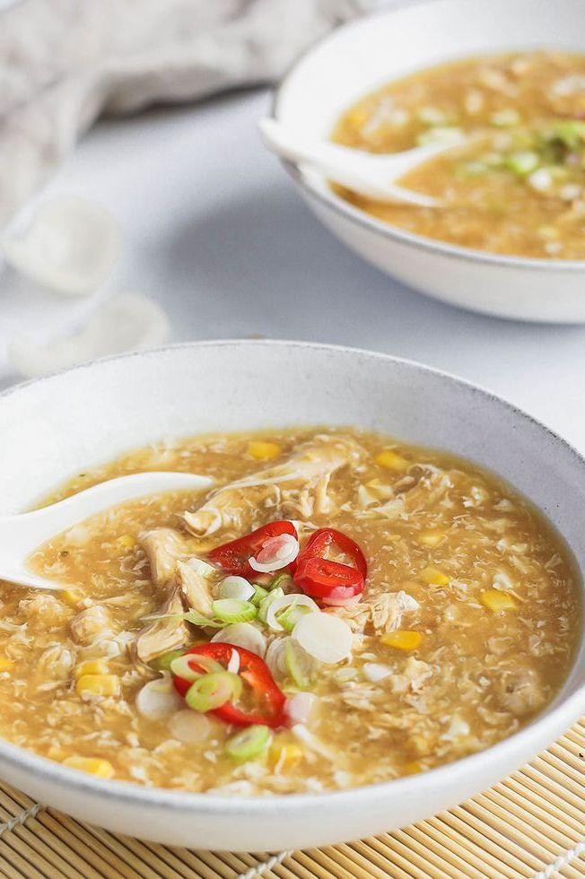 """<p>This Chinese-inspired chicken and sweetcorn soup can be on the table in less than 20 minutes.</p><p>Get the <a href=""""https://www.delish.com/uk/cooking/recipes/a33364085/chicken-sweetcorn-soup/"""" rel=""""nofollow noopener"""" target=""""_blank"""" data-ylk=""""slk:Chicken and Sweetcorn Soup"""" class=""""link rapid-noclick-resp"""">Chicken and Sweetcorn Soup</a> recipe.</p>"""