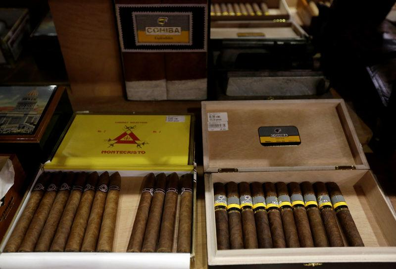 Cuban cigars for sale are displayed at a hotel in Havana, Cuba