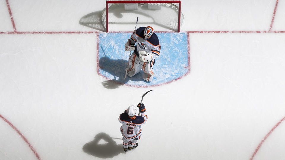 Mikko Koskinen is on an island in Edmonton. (Photo by Mark Blinch/NHLI via Getty Images)
