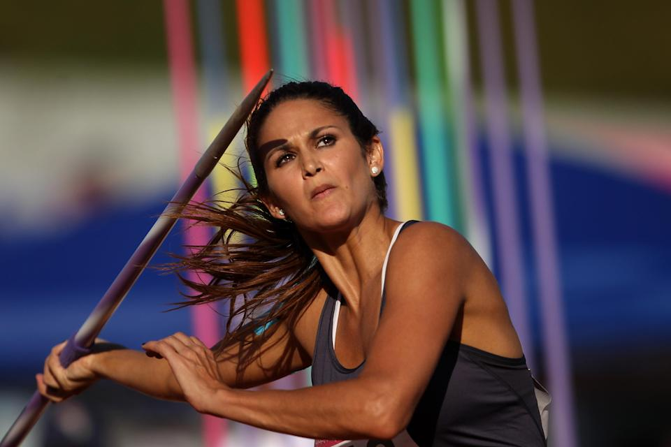 Leryn Franco of Paraguay competes in the women's javelin throw final during Day 13 of the XVI Pan American Games at Telmex Athletics Stadium on October 27, 2011 in Guadalajara, Mexico. (Photo by Scott Heavey/Getty Images)