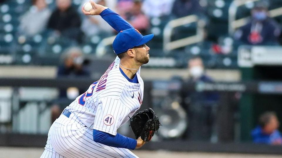 Apr 27, 2021; New York City, New York, USA; New York Mets pitcher David Peterson (33) pitches during the first inning against the Boston Red Sox at Citi Field.