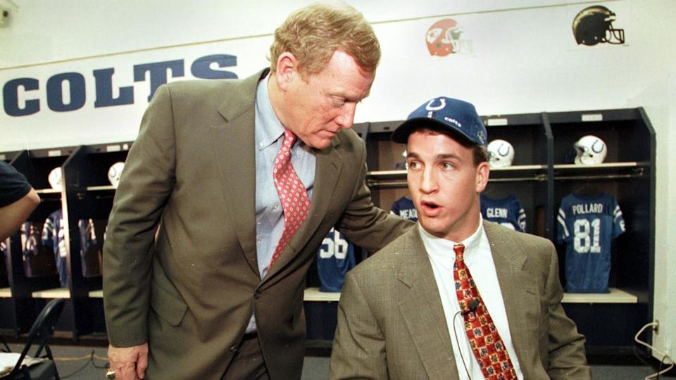 Mandatory Credit: Photo by Michael Conroy/AP/Shutterstock (5976440a)POLIAN MANNING Peyton Manning, right, the No.