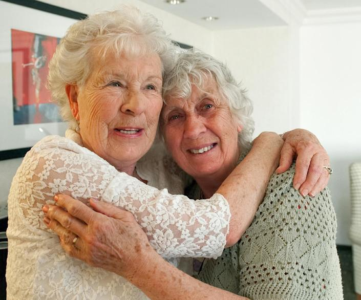 Twin sisters, Ann Hunt, left, of Aldershot, England and Liz Hamel, of Albany, Oregon, both 78, reunite May 1, 2014 at the Fullerton Marriott for the first time since 1936, when they were they were separated at five-months-old in Aldershot, England. Their meeting was arranged by Dr. Nancy Segal of California State University, Fullerton, who is conducting a long-term study of twins. Segal describes them as the world's longest-separated twins. (AP Photo/Orange County Register, Leonard Ortiz) MANDATORY CREDIT, LEONARD ORTIZ, ORANGE COUNTY REGISTER.
