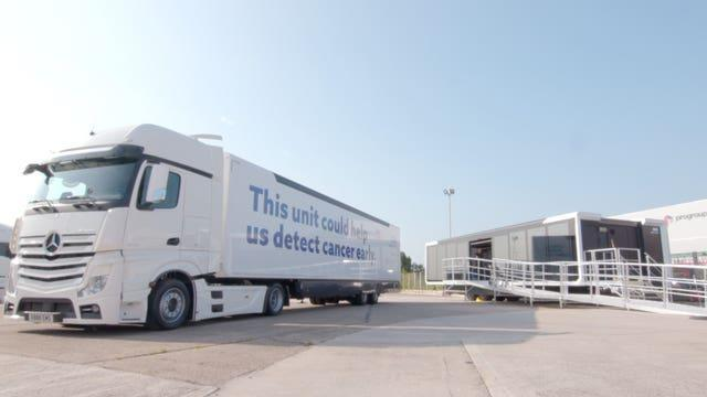 The truck where the Galleri Trial will take place (NHS England & NHS Improvement/PA)