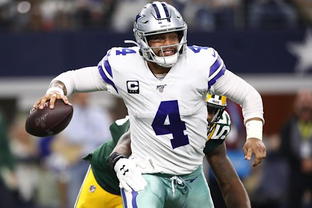 Dak Prescott's struggles against top teams and feasts on bad ones should give Jerry Jones an idea of where things stand. (Getty)