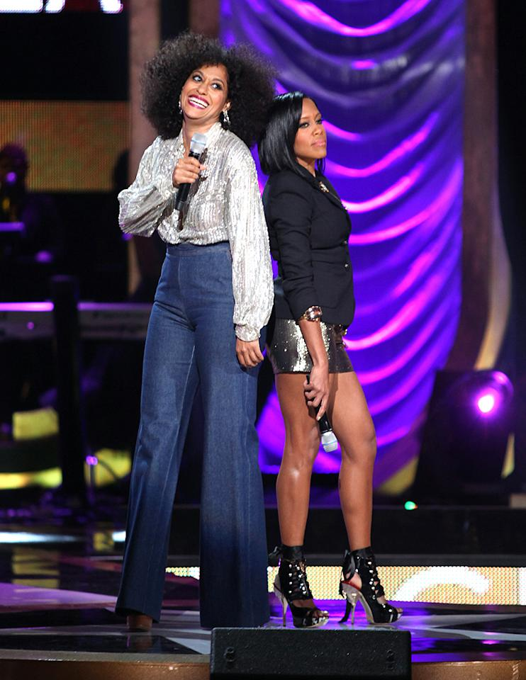 Although Tracee Ellis Ross bested Regina King in the height department, the women made for a perfect pair of co-hosts. (10/13/2012)