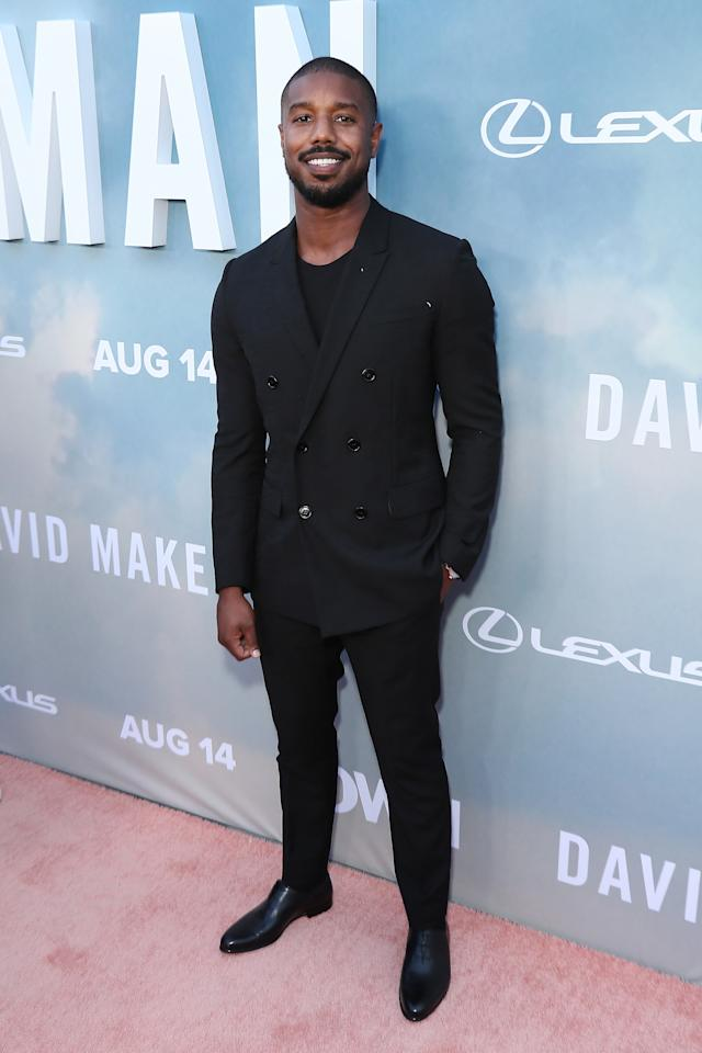 """WHAT: Berluti<br> WHERE: The premiere of """"David Makes Man"""" in Los Angeles<br> WHEN: August 6, 2019<br> WHY: Michael B. Jordan has worn a lot of DB suits to nighttime events—this one is worth a second date."""