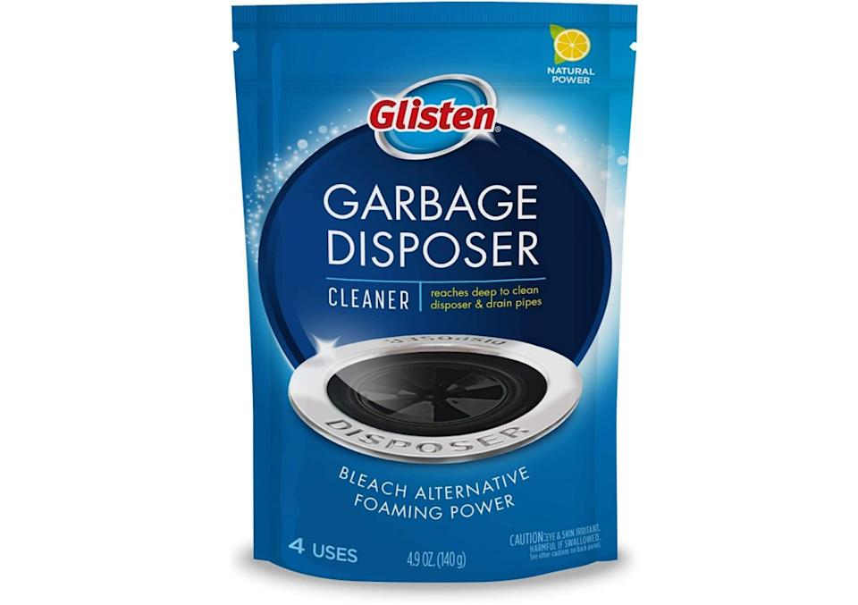 """You can plop a packet into your sink, run a little water and let its blue magic fizz its way up to the top while clearing out all the gunk and gross smells from your culinary adventures in one go.<br /><br /><strong>Promising review:</strong>""""This stuff really cleans my sink and disposal of the foul odor that sometimes develops.<strong>I've tried everything to get rid of the smell from the garbage disposal:</strong>Vinegar, bleach, ice, various other products, baking soda, baking soda with vinegar, boiling water...<strong>nothing seemed to get rid of the smell for long, but this stuff does.</strong>I like it so much that I ordered it online because I couldn't find it again at the grocery store."""" —<a href=""""https://www.amazon.com/gp/customer-reviews/R3SFU34LCTT95?ASIN=B002E37158&ie=UTF8&linkCode=ll2&tag=huffpost-bfsyndication-20&linkId=dd8a623357e6255d59345b4ea2add60f&language=en_US&ref_=as_li_ss_tl"""" target=""""_blank"""" rel=""""noopener noreferrer"""">Carol L. Hill</a><br /><br /><strong>Get a four-pack from Amazon for<a href=""""https://www.amazon.com/Glisten-Disposer-Foaming-Cleaner-Lemon/dp/B002E37158?&linkCode=ll1&tag=huffpost-bfsyndication-20&linkId=48de7805eddbf55b56b5236a14d03066&language=en_US&ref_=as_li_ss_tl"""" target=""""_blank"""" rel=""""noopener noreferrer"""">$3.98</a>.</strong>"""