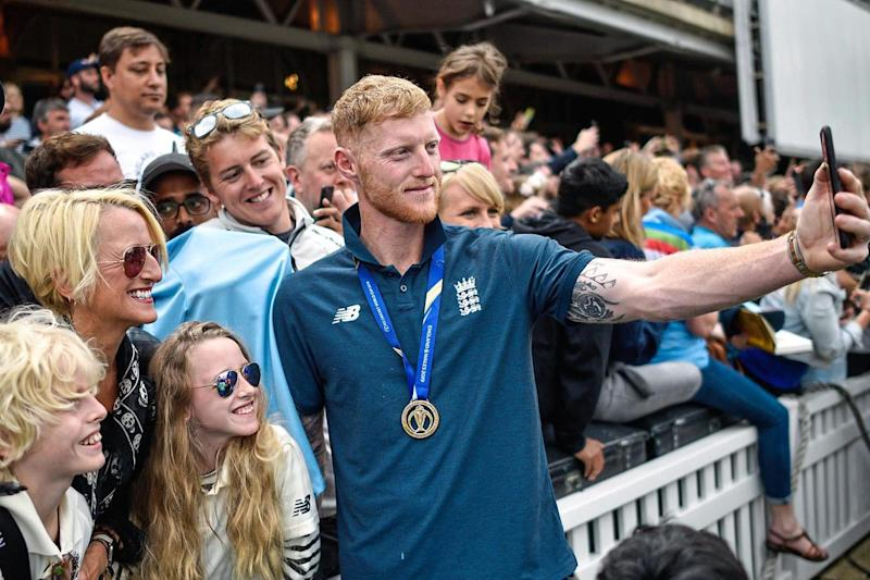 Ben Stokes celebrates with fans at the Oval (Getty Images)